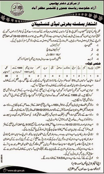 Lady Constables Jobs in AJK