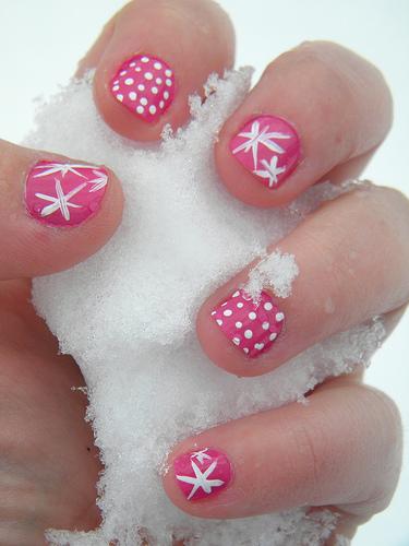 Little Girl Nail Art Green Pink Zebra Nail Designs. Retro Nail
