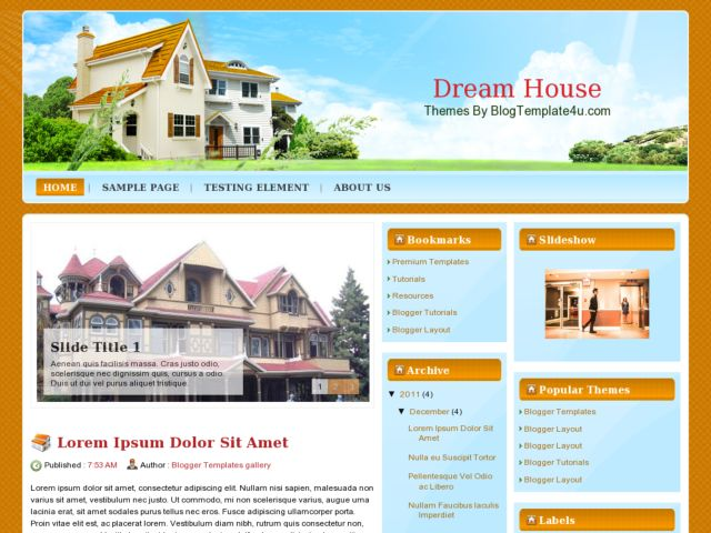 Dream House Blogger Template