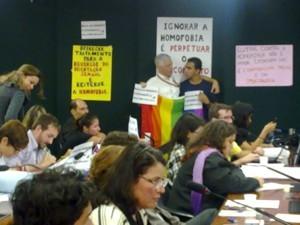 Manifestantes LGBTs exibem cartazes contra o projeto na Câmara (Foto: Rafael dos Santos)