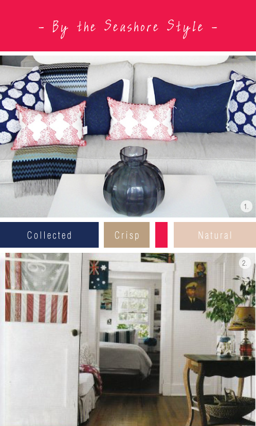 Seashore Interior Mood-board Via colourfulcarla.com | Navy, Blue & White