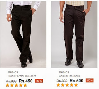 Amazing Deal: Buy Basics Trousers for Rs.450 | Rs.500 & more @ Jabong (Flat 50% Discount)