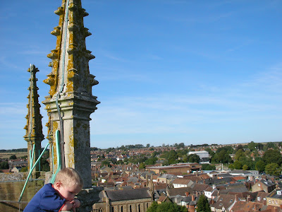 view from roof of sherborne abbey