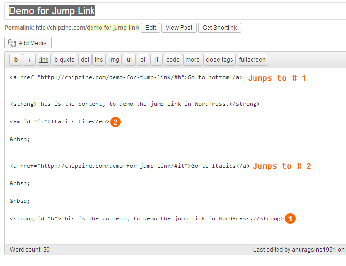 Page Jump/Jump Links in Wordpress