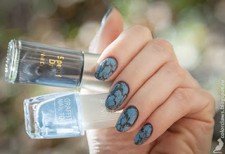 Boots №7 Speed Dry #02 Grey Skies + IsaDora Graffiti Top Coat Blue Burner