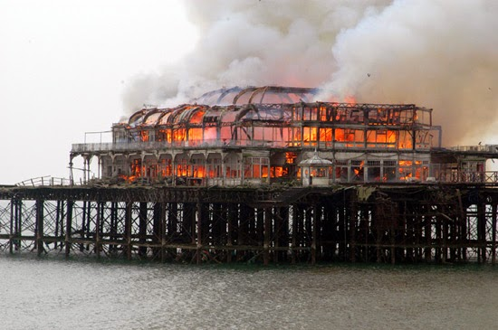 How did Arcade Fire get the band name idea - Brighton pier burning
