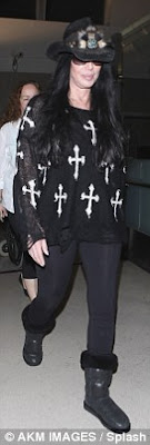 Cher sporting a somewhat gothic style