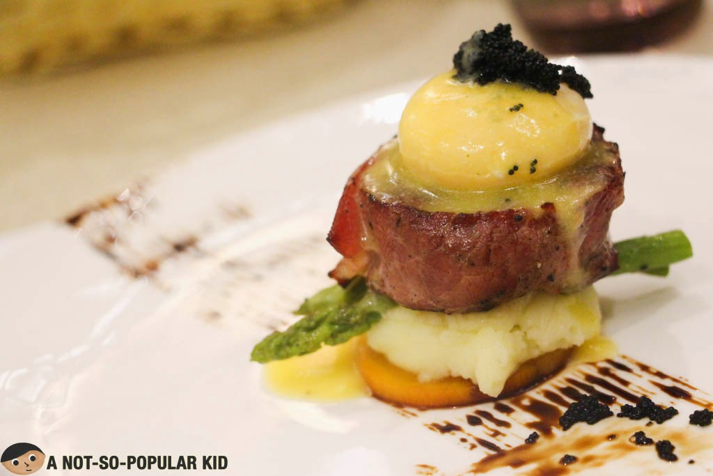 Pan-seared Beef Medallion Stuffed with Gorgonzola with Deconstructed Hollandaise