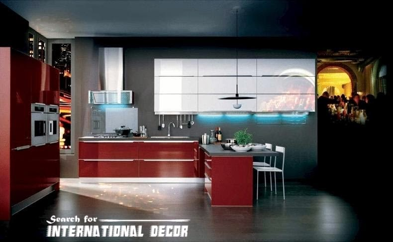 Italian kitchen, Italian cuisine, modern red kitchen design