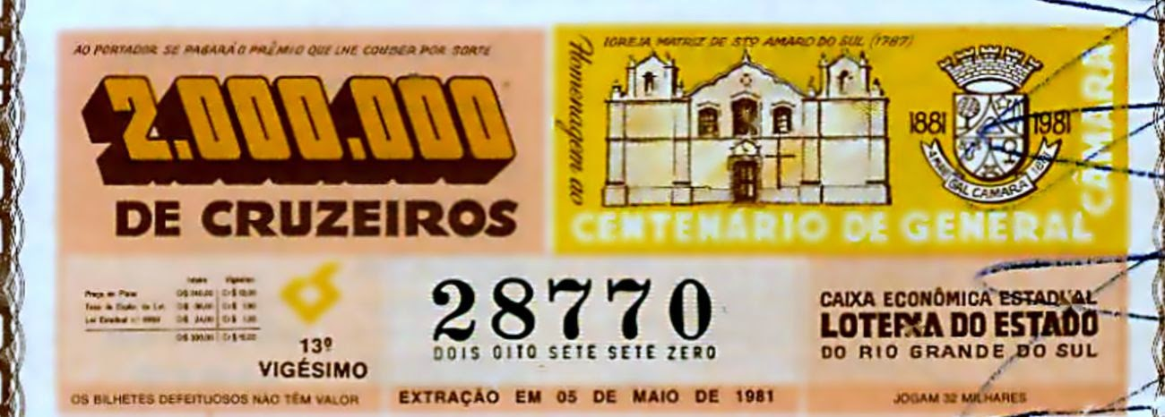 LOTERIA DO ESTADO DO RIO GRANDE DO SUL  05/05/1981