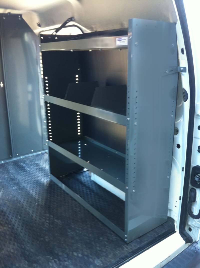 Standard van shelving unit comes with 3 adjustable shelves 4 adjustable dividers and plastic back panel please call if you have any questions or order