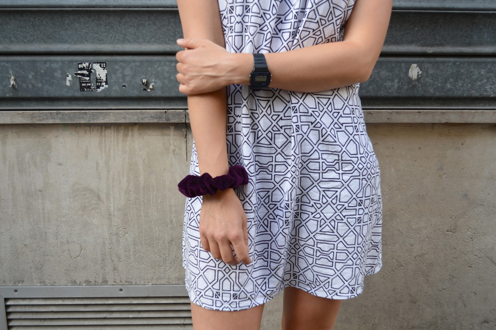Motel Rocks geometric print dress and Casio watch details