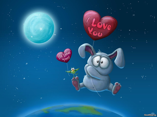 Best Jungle Life i love you wallpaper, bunny love, bunny, heart floating
