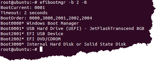 Ubuntu has been removed from BootOrder