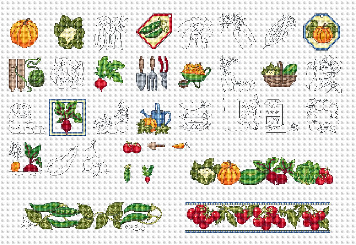 A bit more edible garden amanda gregory cross stitch design for Edible garden designs