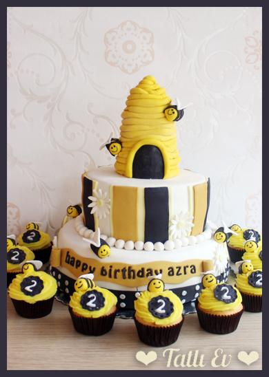 arı temalı pasta ve cupcakeler