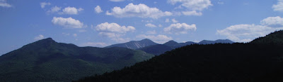 Panorama of Noonmark and Dix Mountains from Snow Mtn.   The Saratoga Skier and Hiker, first-hand accounts of adventures in the Adirondacks and beyond, and Gore Mountain ski blog.
