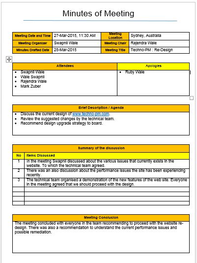 Meeting Minutes Template : Excel and Word Free Download - Free ...