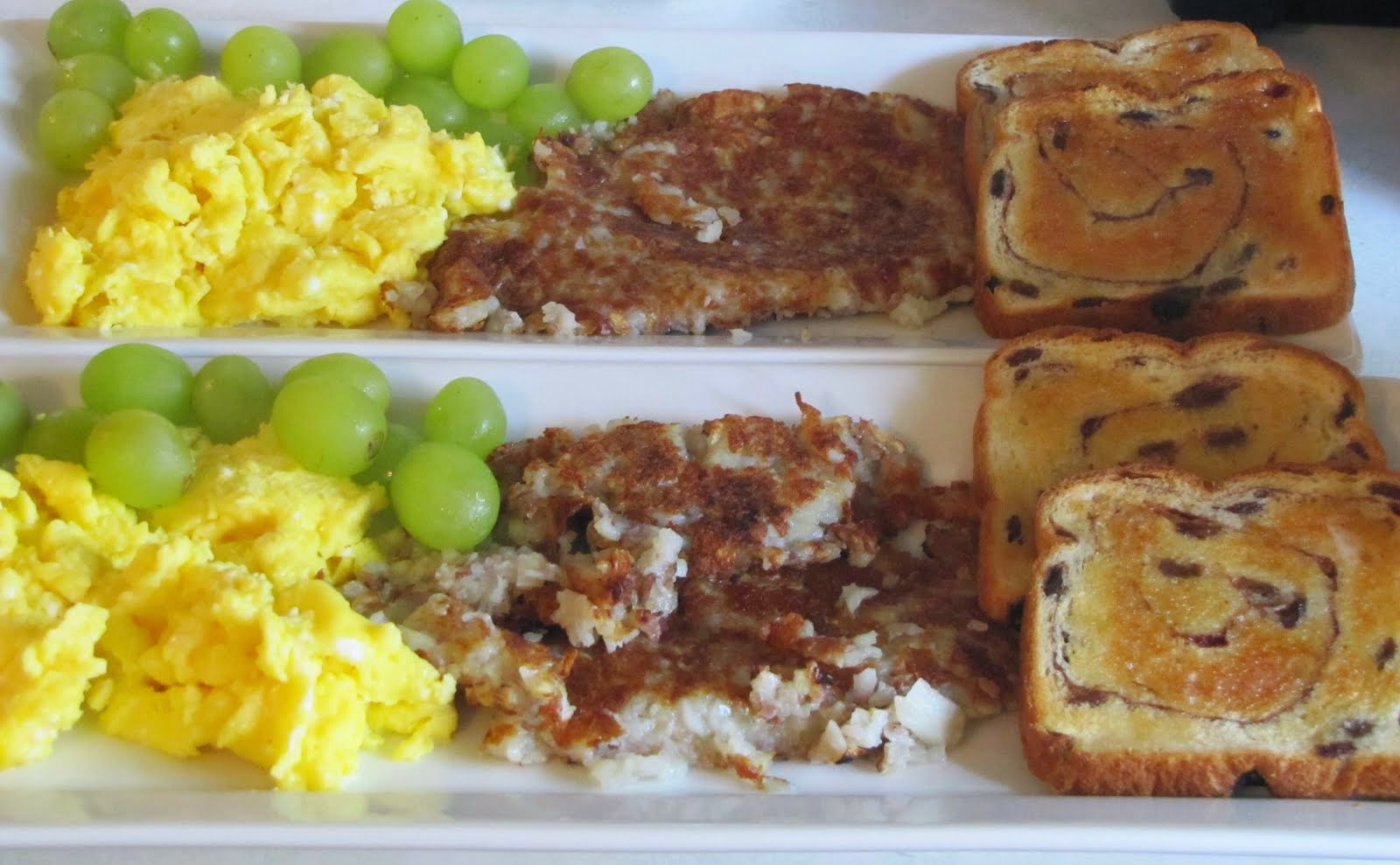 Eggs, Hash Browns, Raisin Bread , Grapes
