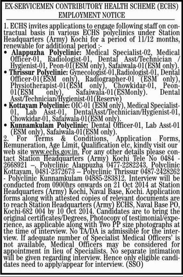ECHS Kochi Jobs October 2014