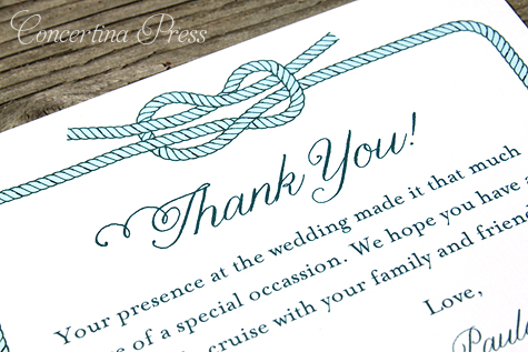 Nautical Wedding Favor Thank You Card by Concertina Press
