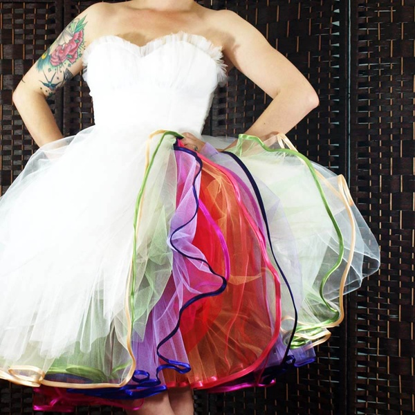 multi-colored ball gown