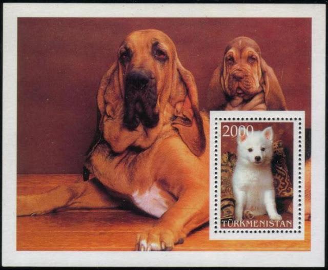 1994年トルクメニスタン 日本スピッツの子犬とブラッドハウンドの親子の切手シート