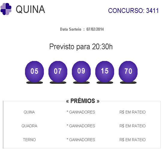 Resultado da Quina 3411