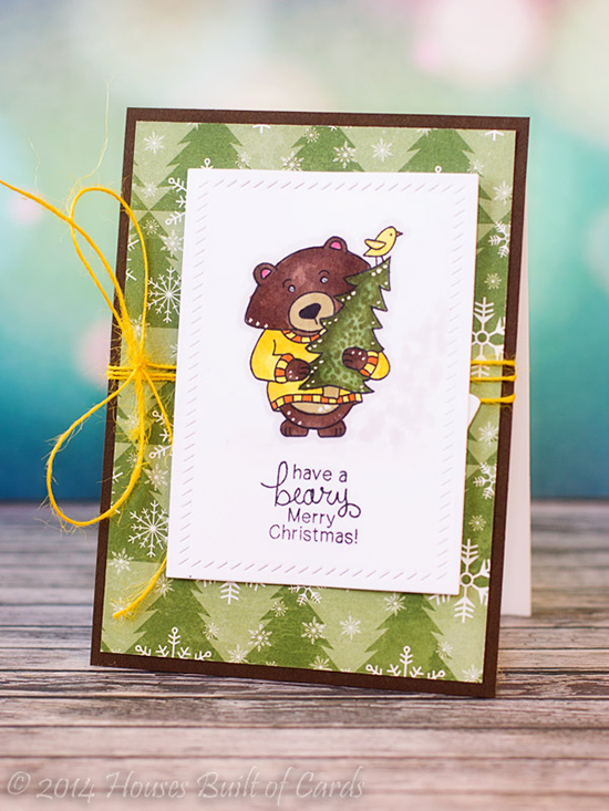 Beary Christmas Bear in Sweater card by Heather Hoffman | Newton's Nook Designs