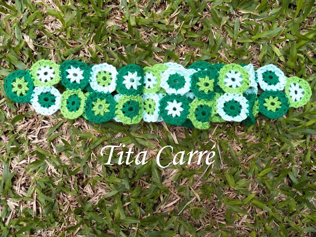 Scarf  Green Circle crochet