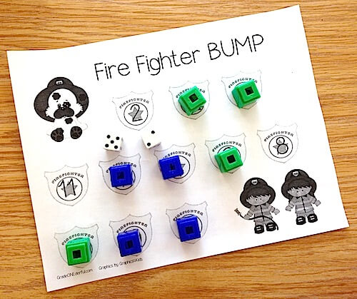 Firefighter Bump math game. Fire Safety activities for first grade. GradeONEderful.com