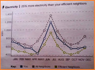 Line graph plotting electricity usage for each month, showing the efficient, average consumption, and me