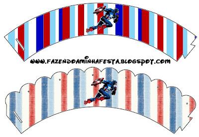 Wrappers para cupcakes de Capitán América.
