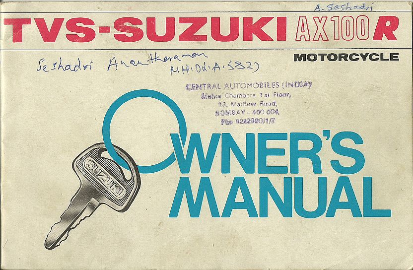 rare motorcycle tvs suzuki ax100 r owners manual rh oldraremotorcycles blogspot com Suzuki Quadmaster 50 Manual Suzuki Parts Manual