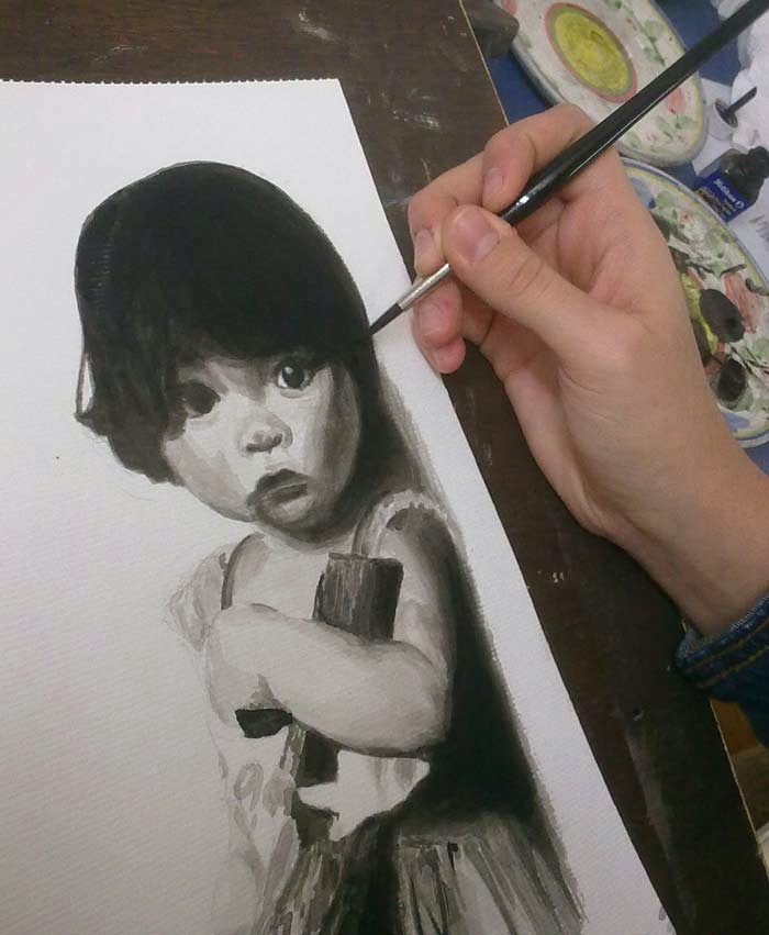 retrato de niña con tinta
