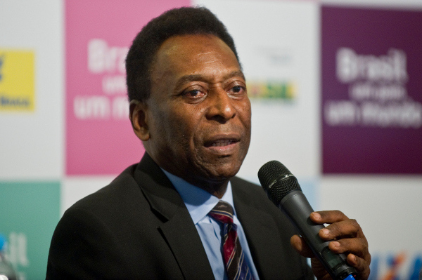 Pelé gives a press conference after the humiliating defeat
