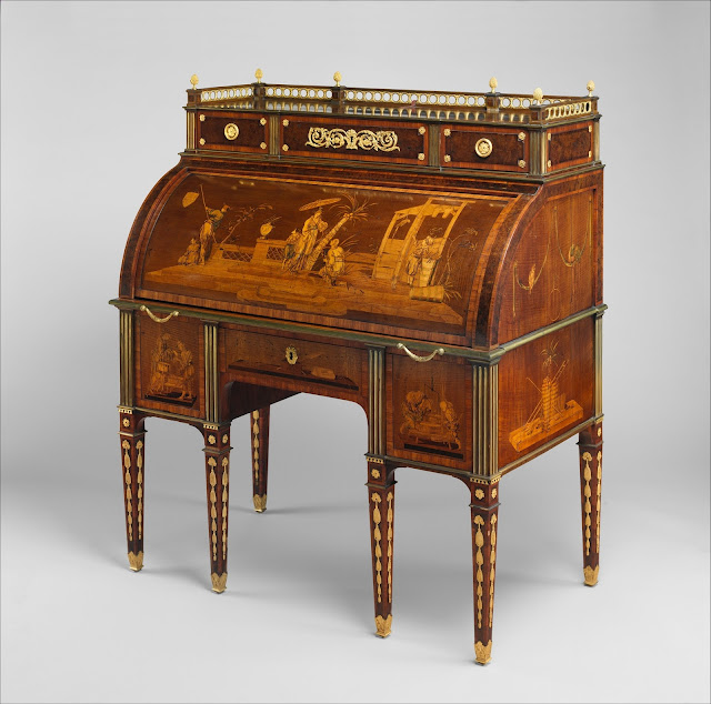 Cylinder-Fall Desk with Cabinet Top, David Roentgen,ca. 1776–78, German (Neuwied) , Oak, cherry, cedar, pine and mahogany; veneered with mahogany, maple, burled walnut, kingwood, tulipwood, boxwood, ebony and various other woods, partly stained, mother-of-pearl; brass, partly gold-lacquered; gilt-bronze mounts; steel and brass operating mechanisms, leather.  Dimensions: H.(135.9 cm), W.(110.5 cm), D. (67.3 cm)