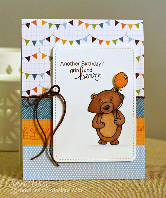Birthday Bear card by Tessa Wise for Newton's Nook Designs