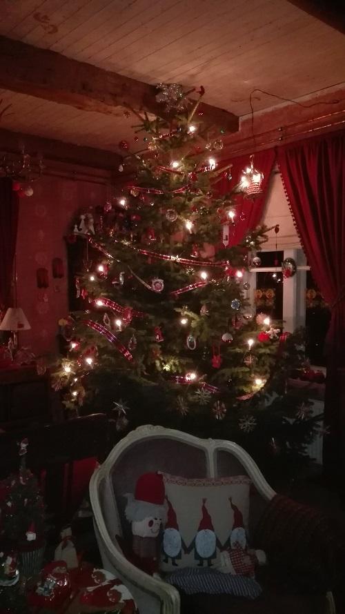 Majesteettisen kokoinen, aito joulukuusi Koikkelan salissa.