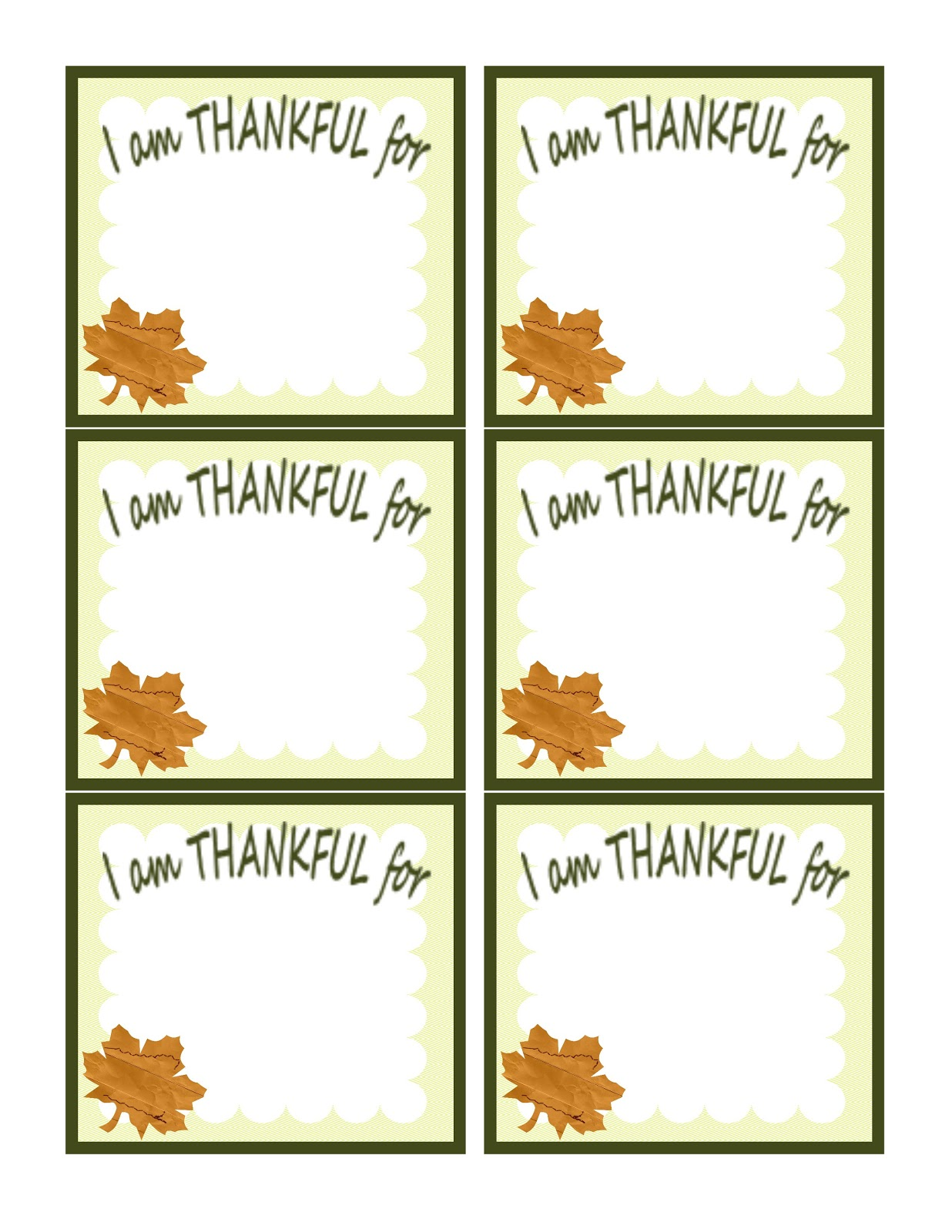 This is a picture of Striking I Am Thankful for Printable