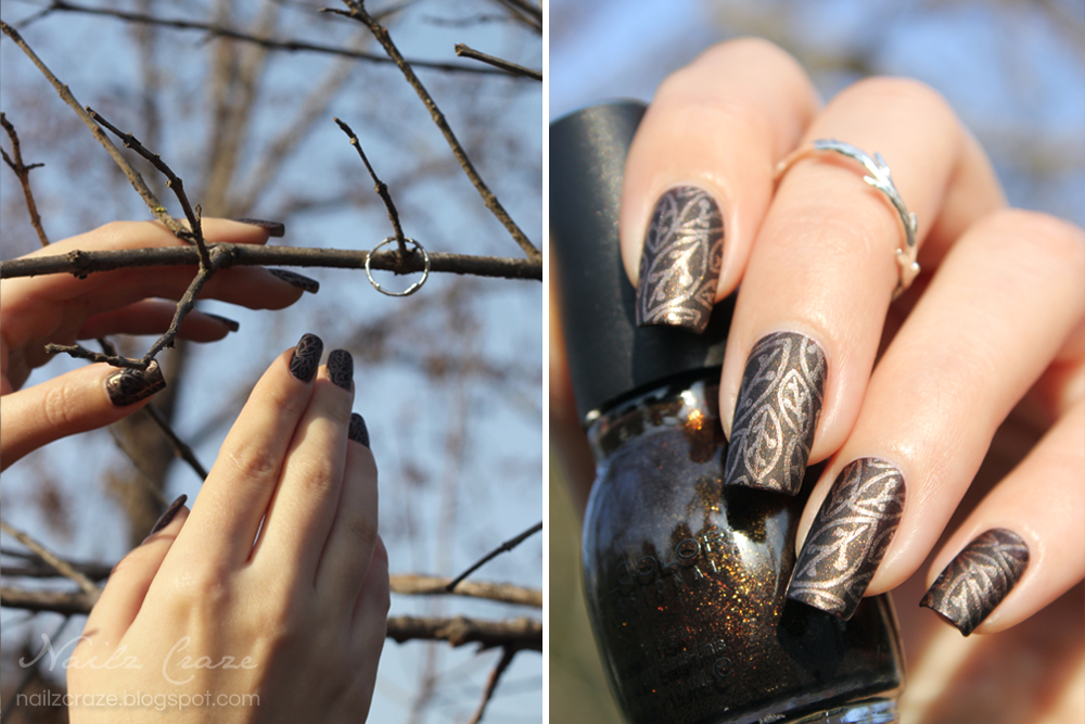 Jewelry nail art nature inspired nailz craze the nail art this beautiful twig ring inspired me to create a manicure with earthy colors and nature pattern and the lovely weather outside was perfect sciox Image collections