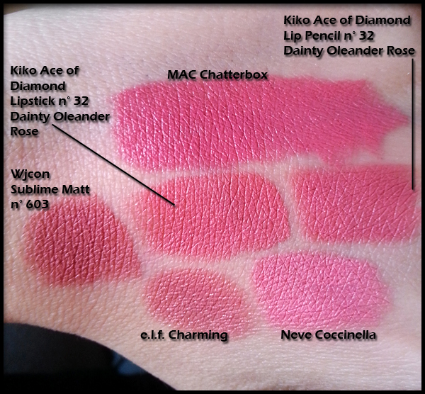 Kiko Cosmetics - Ace of Diamond Lipstick n° 32 in Dainty Oleander Rose - Daring Game Collection - Confronti con MAC Chatterbox, Ace of Diamond Lip Pencil n° 32, Wjcon Sublime Matt n° 603, elf Lipstick in Charming, Neve Pastello Coccinella Pink