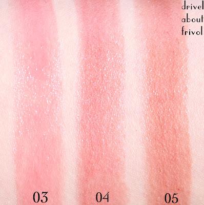 Suqqu Creamy Glow Moist Lipstick swatches 03 Fuyuzakura, 04 Tsuirokokemomo, 05 Usunadeshiko