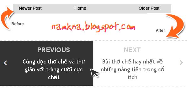Hiện Next & Previous kèm tiêu dề bài viết cho blogger