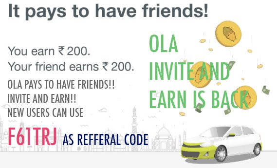 OLA INVITE AND EARN IS BACK