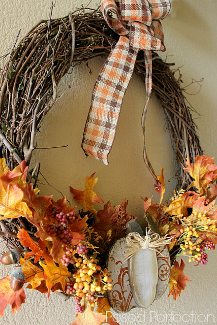 Pumpkin and Plaid Wreath