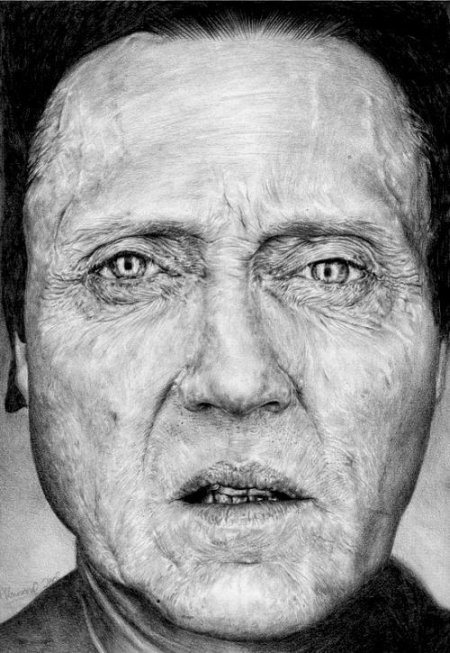 T.S. Abe desenhos a lápis hiper realistas retratos famosos Christopher Walken