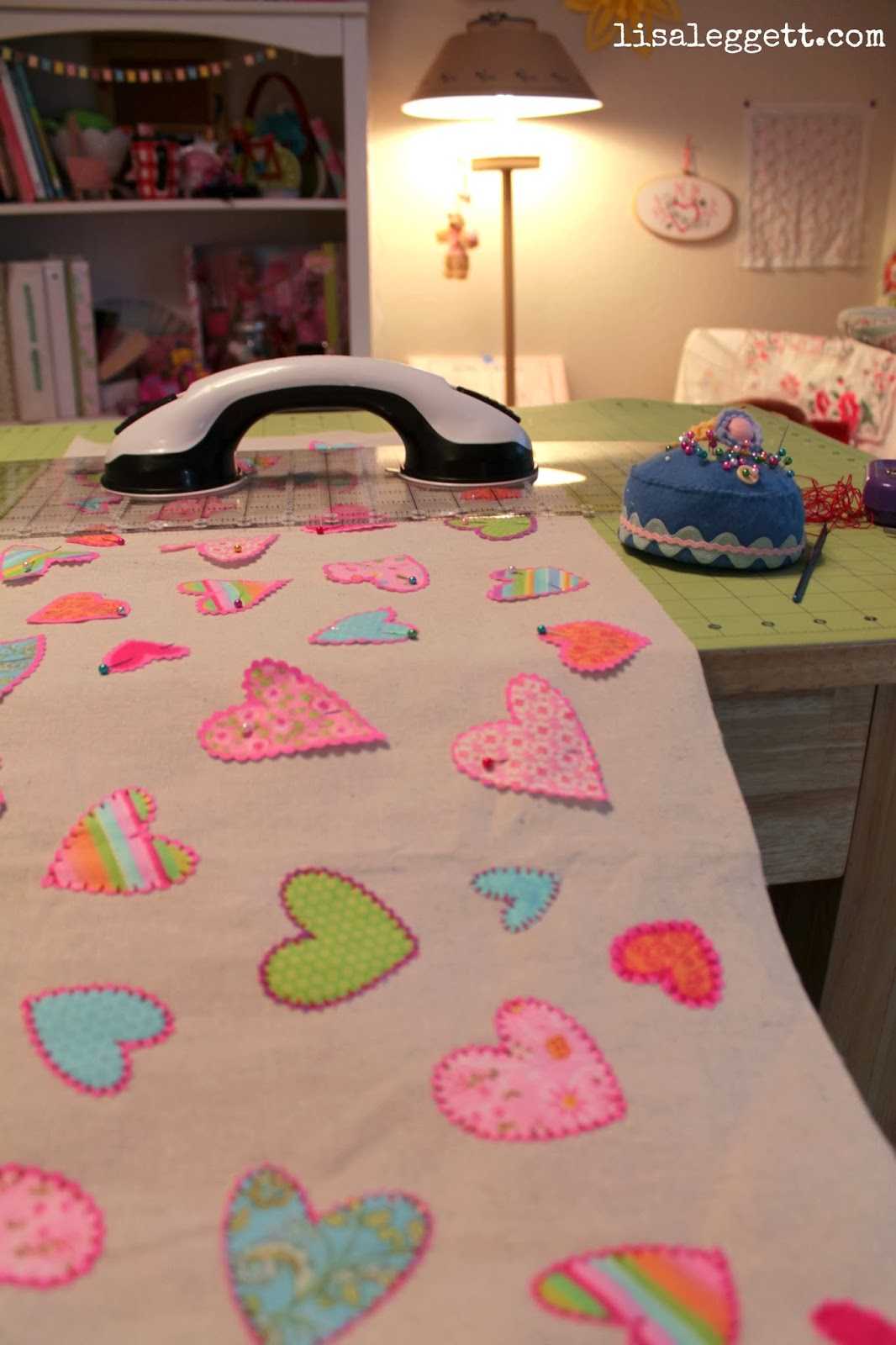 Stitching progress, hearts table runner
