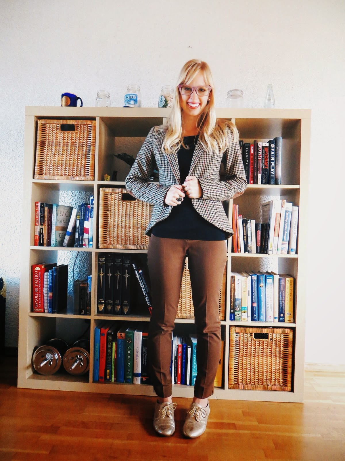 tweed blazer, brown cigarette pants, debshops gold oxfords, freyrs wood framed clear lens glasses, teacher outfit