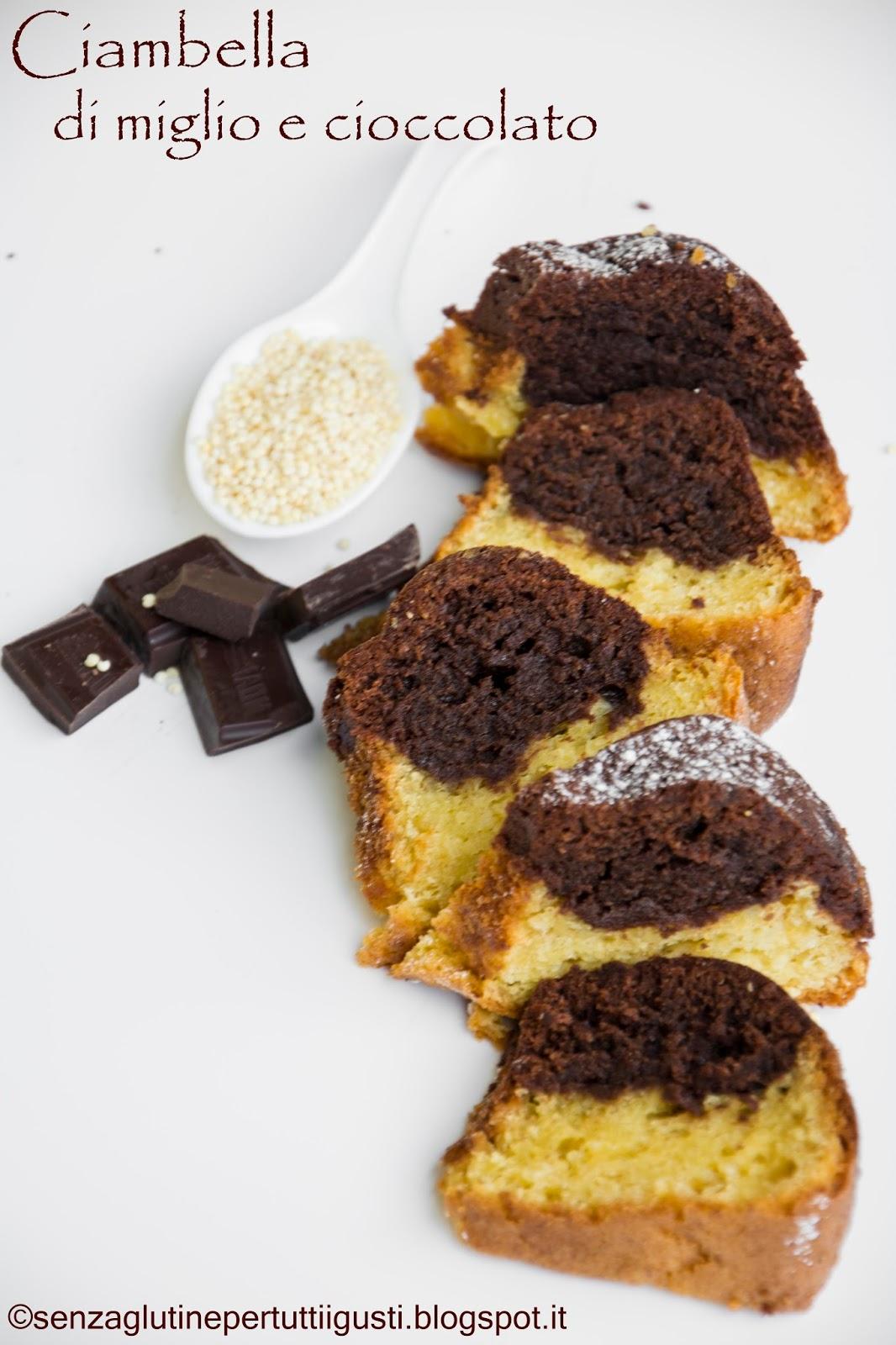 ciambella di miglio e cioccolato senza glutine